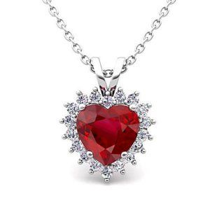 Jewelry - Heart & Round Cut 5.50 Ct. Ruby With Diamonds Pend